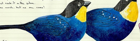 Elegant Bird Illustrations in Moleskine Diaries by Fran Giffard