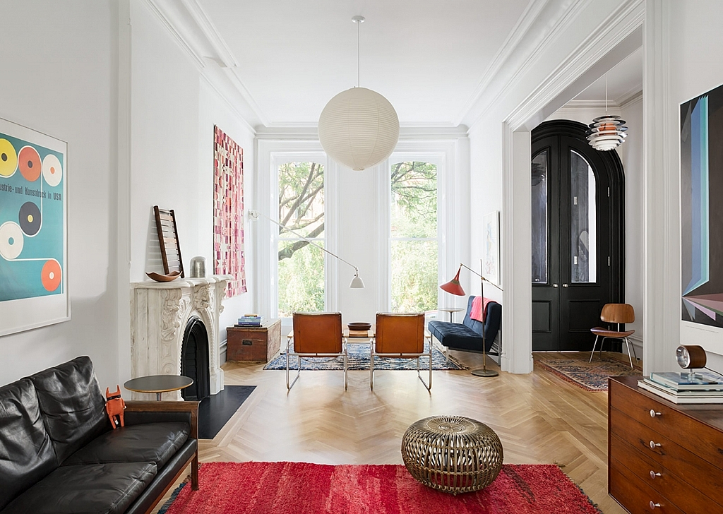 An Architectural Brooklyn Living Room With A Modern: 19th Century Brownstone House In Brooklyn, New York