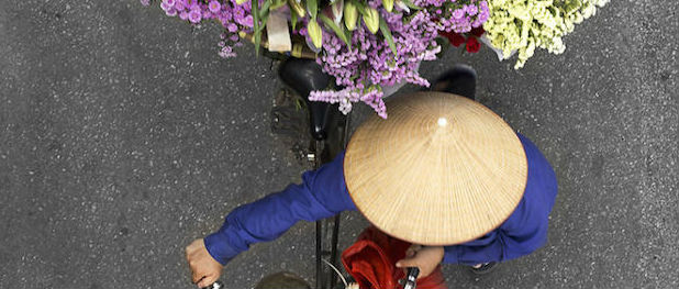 Vendors from Above over Hanoi Bridges, by Loes Heerink